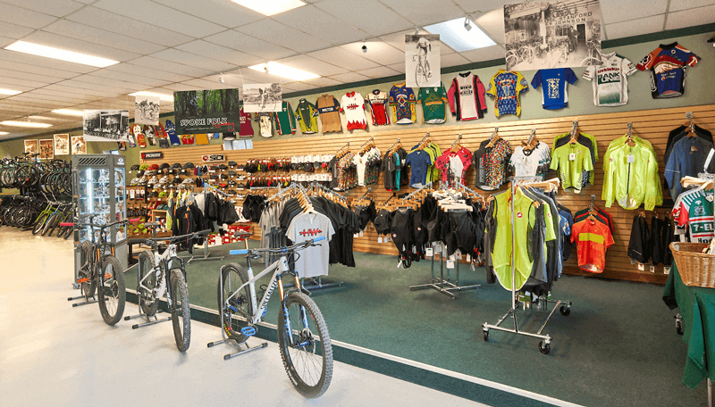 Range of products and bikes at Spoke Folk Cyclery.